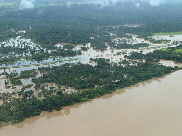 BR-425, que dá acesso a Guajará-Mirim, está totalmente coberta pela água do Rio Araras, afluente do Rio Madeira (Foto: Maríndia Moura/TV Rondônia)