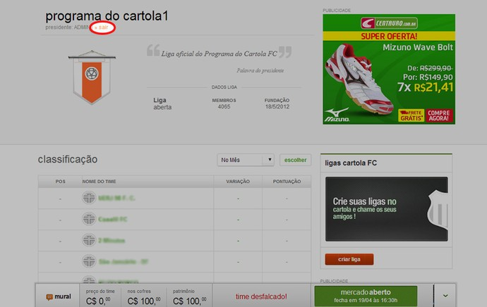 Guia Cartola tela Sair da Liga (Foto: Reprodução)