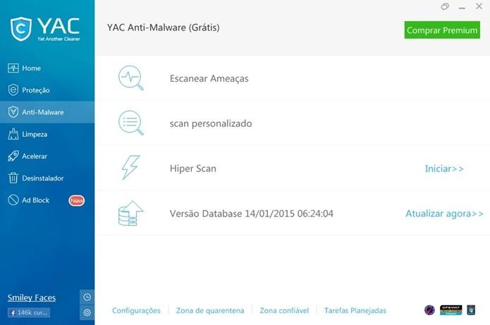 Guia Anti-Malware do YAC, com destaque para opção Escanear ameaças (Foto: Reprodução/Raquel Freire)