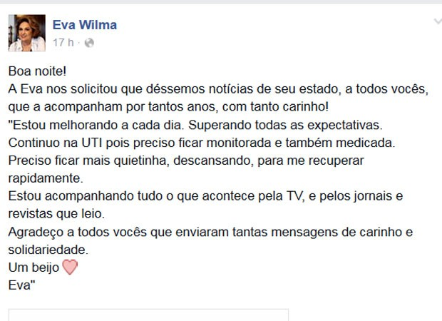 Eva Wilma postou mensagem para tranquilizar os fãs (Foto: Reprodução/Facebook/Eva Wilma)
