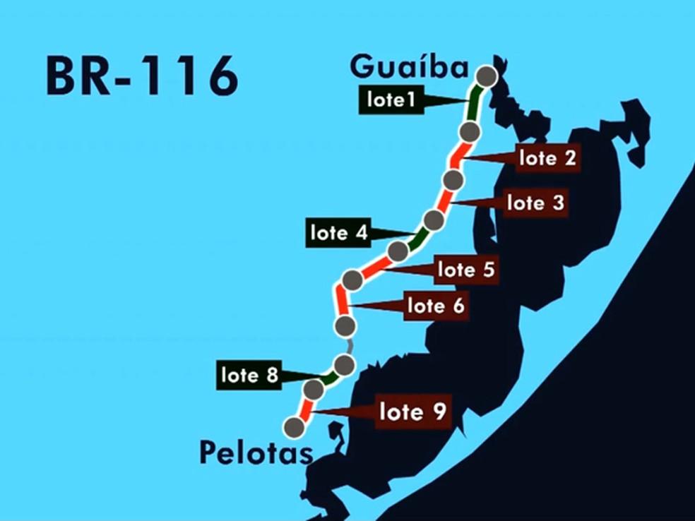 Lote 5, entre Camaquã e Cristal, terá obras retomadas (Foto: Reprodução/RBS TV)