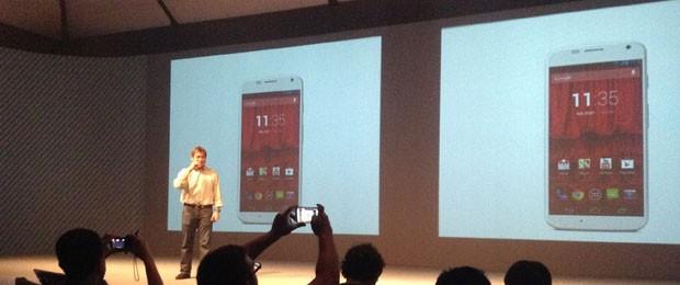 Guy Kawasaki, consultor da Motorola Mobility e ex-evangelista da Apple, apresenta o Moto X, em São Paulo, nesta terça-fera (3). (Foto: Gustavo Petró/G1)