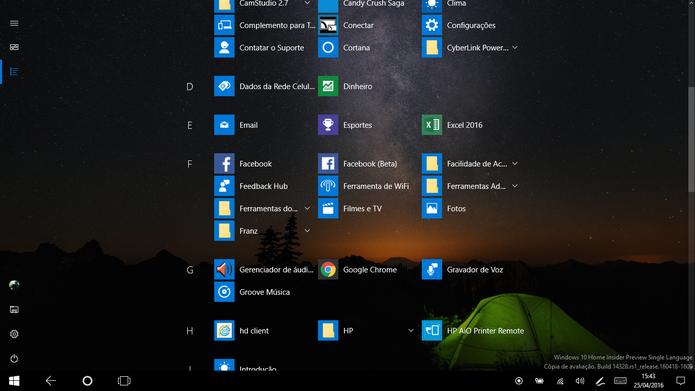 Windows 10 trouxe de volta lista de apps do Windows 8 (Foto: Reprodução/Elson de Souza)