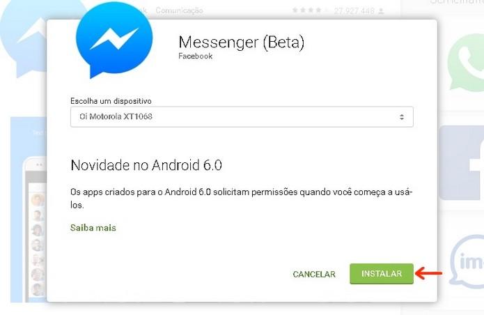 Janela para seleção de dispositivo onde será instalado Messenger Beta (Foto: Reprodução/Raquel Freire)