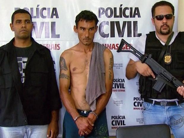 Preso suspeito de balear agente penitenciário em Passos, MG (Foto: Reprodução EPTV)
