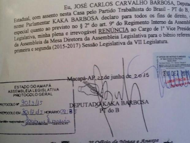 Documento teria assinatura do deputado Kaká Barbosa (Foto: Reprodução)