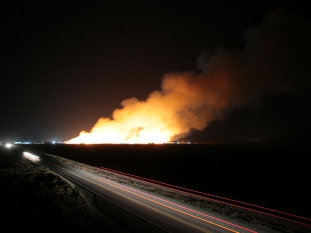 Fogo atinge palha destinada para geração de etanol de segunda geração  (Foto: Jonathan Lins/G1)
