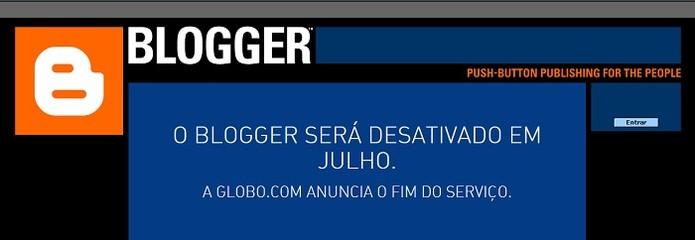 Serviço foi um dos responsáveis pela popularização dos blogs no Brasil (Foto: Reprodução/Blogger)