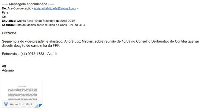 Blog Torcida Coritiba - nota oficial de André Macias