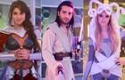 Manu, Davi e Megan capricham no look em festa à fantasia (Foto: Raphael Dias/TV Globo)