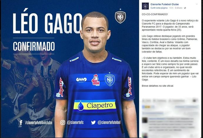 Cianorte Léo Gago (Foto: Site oficial do Cianorte/Divulgação)