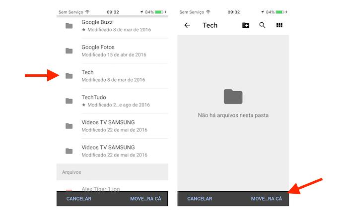 Enviando a cópia de um documento para outra pasta do Google Drive pelo celular (Foto: Reprodução/Marvin Costa)