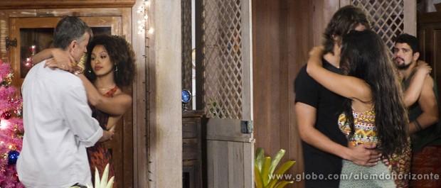 Nem em dia de festa, Keila dá trégua para Kléber e insiste em saber quem é a sua amante (Foto: Além do Horizonte/TV Globo)