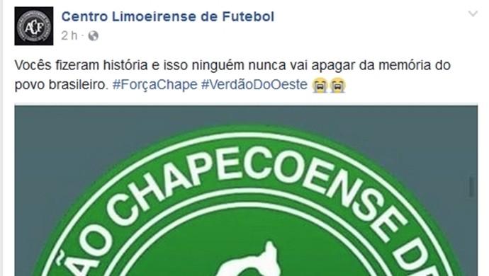 Centro Limoeirense, Facebook, Chapecoense  (Foto: Reprodução/ Facebook)