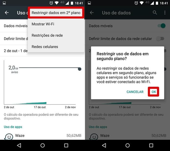 Restringindo o uso de dados da rede móvel (Foto: Reprodução/Felipe Alencar)