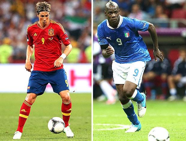 Balotelli e Fernando Torres, Espanha x Itália (Foto: Agência Getty Images)