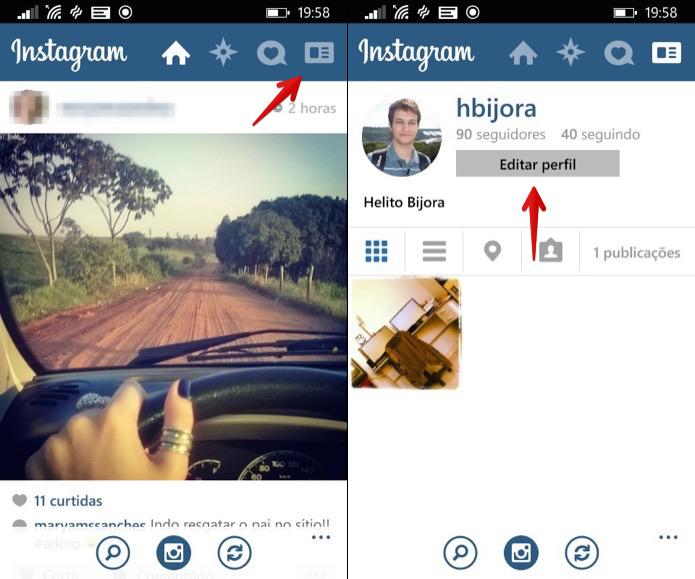 Acesse as configurações do Instagram (Foto: Reprodução/Helito Bijora)