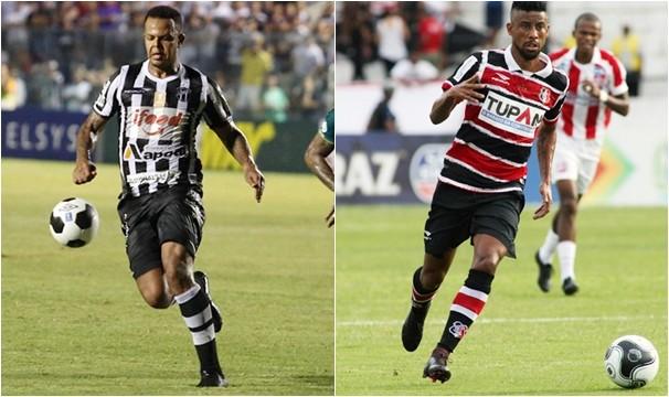 Ceará, de Bill, encara o Santa Cruz, de Leo Moura, nas quartas da Copa do Nordeste. (Foto: Christian Alekson/Cearasc.com e Antônio Melcop/Santacruzpe.com.br)