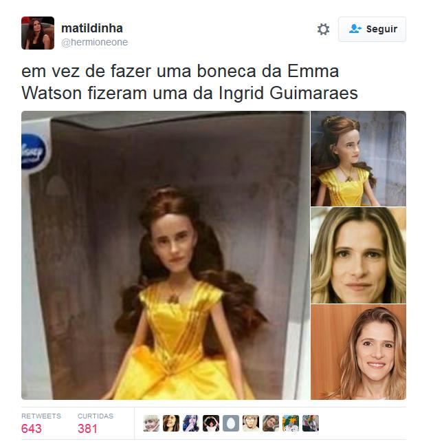 Internautas comparam boneca de Emma Watson a Ingrid Guimarães (Foto: Reprodução / Twitter)