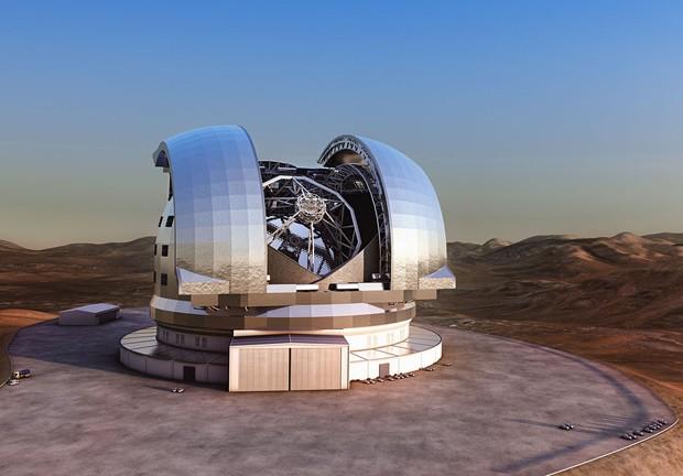 Concepção artística mostra como deve ser o E-ELT no pico do Cerro Armazones, no Chile (Foto:  ESO/L. Calçada)