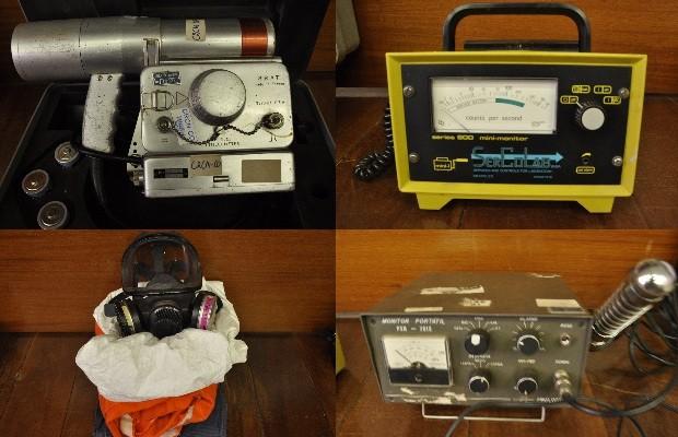 Aparelhos que detectam material radioativo, usados na época do acidente com o césio-137, em Goiânia, Goiás (Foto: Reprodução)