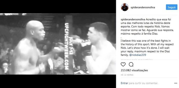 Anderson Silva post Nick Diaz (Foto: Reprodução / Instagram)