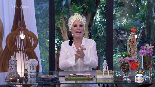 Ana Maria Braga 'quebra' web ao aparecer com abacaxi na cabeça