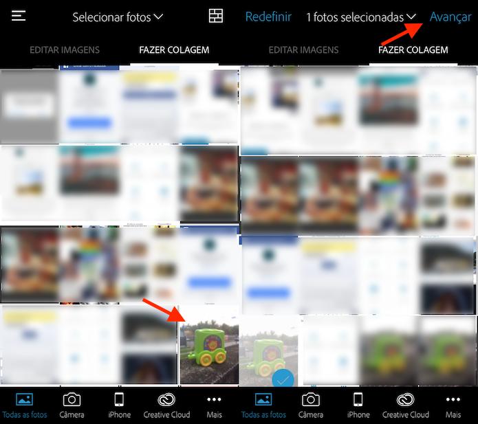 Opção para importar uma foto da biblioteca do celular para o Photoshop Express (Foto: Reprodução/Marvin Costa)
