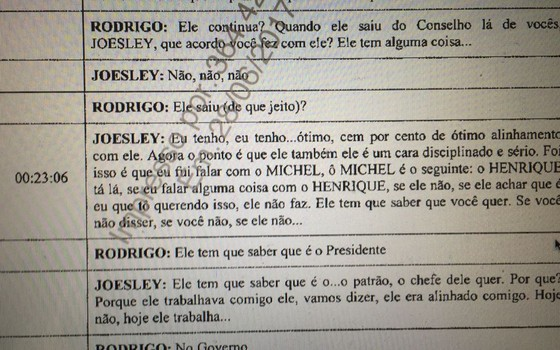 Transcrição de parte de diálogo envolvendo Joesley Batista e Rodrigo Rocha Loures sobre Meirelles (Foto: Reprodução)