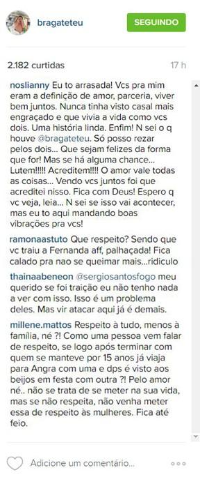 Comentários no instagram de Mateus Braga, ex-marido de Fernanda Gentil (Foto: Instagram / Reprodução)