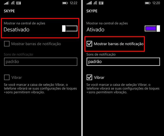 Windows Phone pode ter todas as notificações desligadas (à esquerda) ou somente as barras visuais (à direita) (Foto: Reprodução/Elson de Souza)