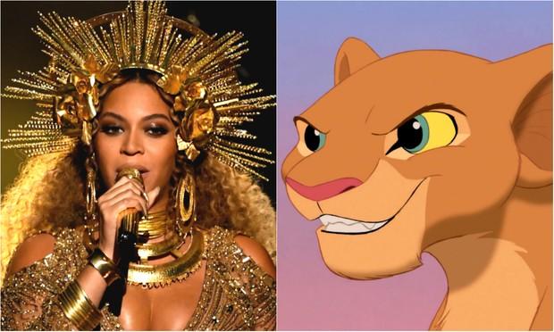 Beyoncé e Nala (Foto: Getty Images   Reprodução / Disney)