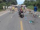 Acidente com caminhão carregado de produtos de limpeza interdita BR-153