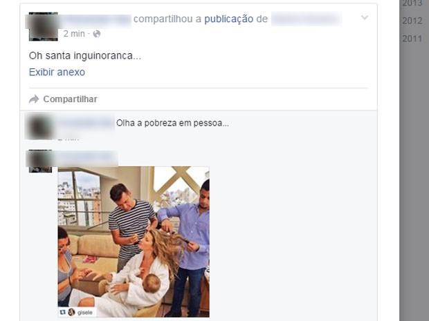 Postagem cita exemplo de modelo a favor da amamentação (Foto: Reprodução / Facebook)