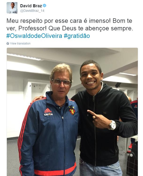 """BLOG: David Braz encontra Oswaldo de Oliveira e agradece: """"Respeito imenso"""""""