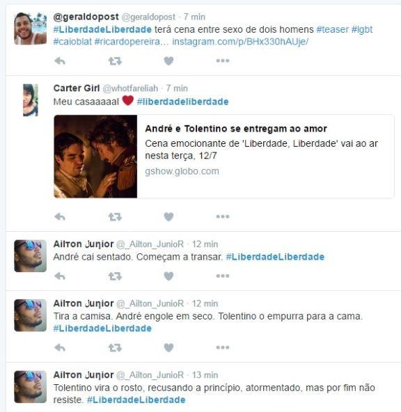 Fã comentam cena no Twitter  (Foto: Twitter / Reprodução)