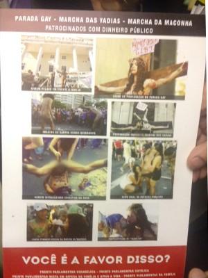 Folheto contra a parada gay distribuído por deputados da bancada evangélica (Foto: Nathalia Passarinho/G1)