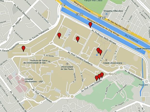 Veja no mapa onde ocorreram os casos de violência sexual contra mulheres registrados pela Guarda Universitária desde 2012 (Foto: Reprodução/Google Maps)