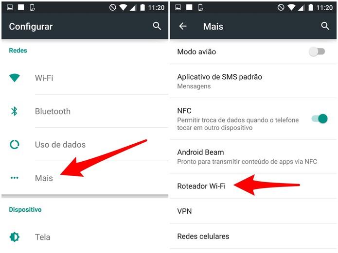 Selecione a opção Roteador Wi-Fi, nas configurações do Moto Maxx (Foto: Reprodução/Lucas Mendes)