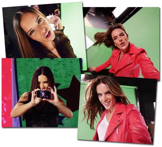 As top models brasileiras Adriana Lima e Alessandra Ambrosio se divertem no vídeo cantando Justin Bieber (Foto: Reprodução)