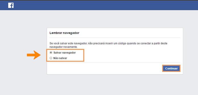 Escolha por salvar ou não o navegador para usar o Facebook (Foto: Reprodução/Barbara Mannara)