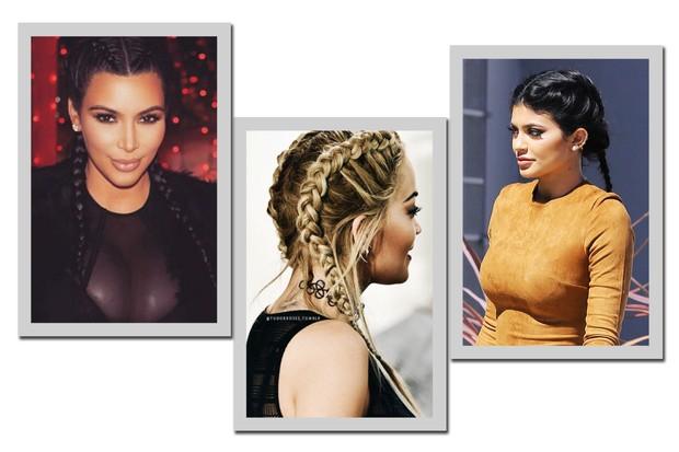 Boxer braid arrumadinha: Kim Kardashian, Rita Ora e Kylie Jenner (Foto: Reprodução/ Instagram e AKM-GSI)
