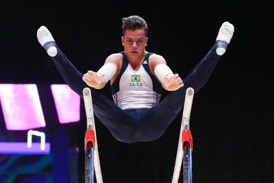 Caio Souza no treino de pódio do Mundial de Glasgow (Foto: Ricardo Bufolin/CBG)