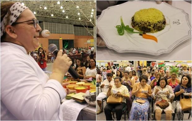 Chef Selma Reis, na aula show, ensinando o 'Meu Arrumadinho' no espaço Rede Amazônica (Foto: Gisa Almeida/Rede Amazônica)