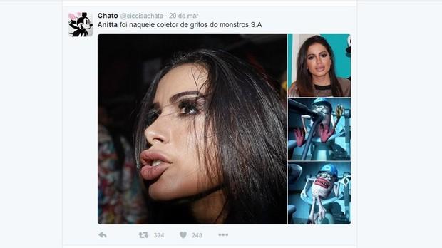 Anitta vira meme na web após preenchimento labial (Foto: Reprodução/Twitter)