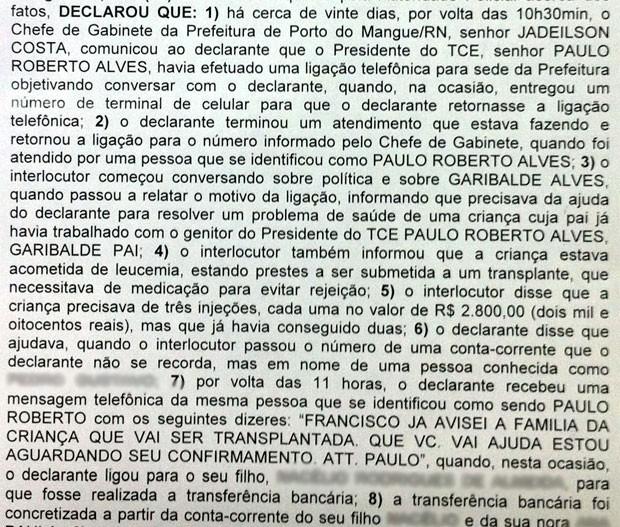 Trecho de depoimentos do prefeito de Porto do Mangue, que afirma ter sido vítima do mesmo golpe no qual um dos suspeitos também teria se identificado como sendo o presidente do TCE-RN (Foto: Reprodução)