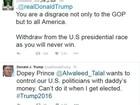 Príncipe saudita felicita Trump depois de insultá-lo
