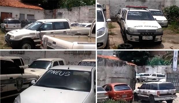 Imagens divulgadas pelo sindicato mostra vários carros parados no setor de transporte da Polícia Civil  (Foto: Divulgação/Sinpol-RN)