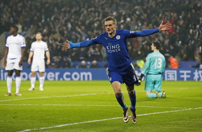 Jamie Vardy, Leicester x Chelsea Campeonato Inglês 2015 (Foto: Reuters)