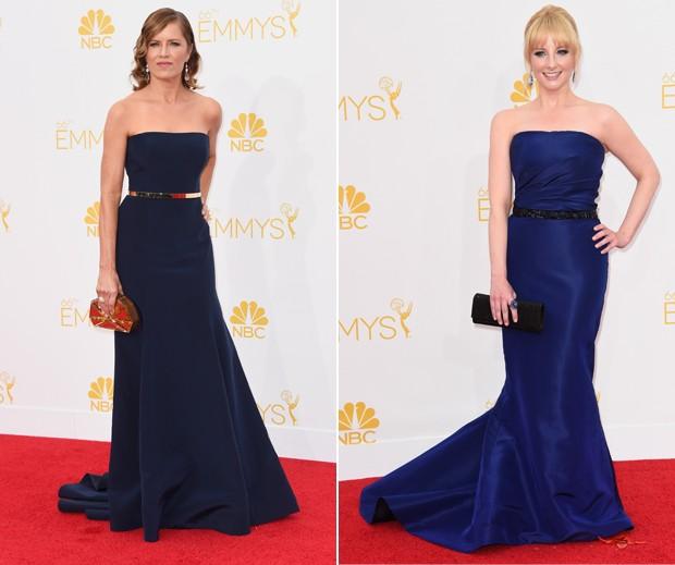 Vestidos tomara-que-caia com cinto e clutch deixam Kim Dickens e Melissa Rauch quase iguais. (Foto: Getty Images)